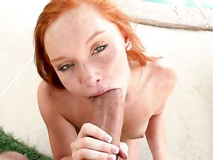 Painting The Pretty Redhead With His Big Cumshot
