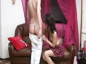 Lithe Lesbian Brunettes Kiss And Suck Tits For Foreplay