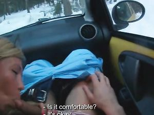 Winter Blowjob In The Car On A Snowy Day