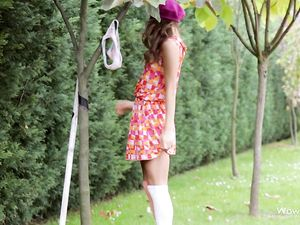 Solo Teen Cutie Flashing Her Panties Outdoors