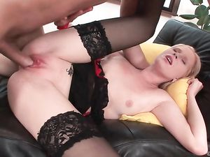 Black Stockings Are Hot On The Teen With A Gaping Ass