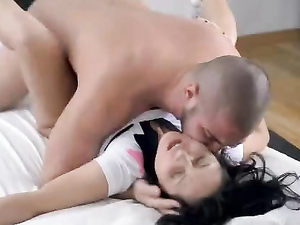 Arousing Teen Doggy Style Fucking With A Pretty Gal