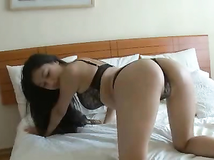 Thong And Bra On A Beautiful Masturbating Asian