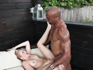 Blonde Nailed Outdoors By His Throbbing Black Cock